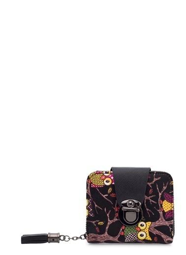 Lela Lela 569113 Çok Bölmeli Fermuarlı Baskılı Kadın Cüzdan Siyah